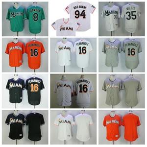 Miami maillot de baseball 8 Andre Dawson Jersey 16 Jose Fernandez 35 Dontrelle Willis 94 Bad Lapin Avec Drapeau de Portoricain Retire