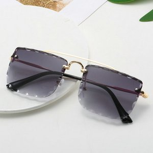 2020 newst top Double Beam Trimmed Square Sunglasses Sharp angled cats glasses double beam female sunglasses Double Beam