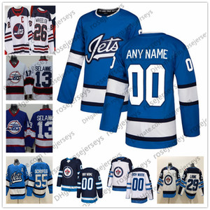 Custom Winnipeg Jets 2019 Azul Tercero Jerseys Cualquier numero Nombre Hombres Mujeres Mujeres Juveniles Niños Marina blanca Wheeler Laine Selanne Scheifele Connor Poco