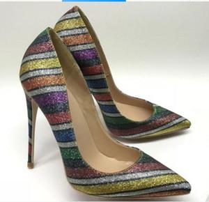 neuer Stil Regenbogen Streifen Pailletten Frauen Red Bottom Cusp Feine Ferse Schuhe mit hohen Absätzen 8cm 12cm 10cm Große Größe 44 Flacher Mund Einzelne Schuhe