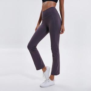 Оптовая продажа LU-06 широкие брюки для йоги сексуальные высотные спортивные костюмы сгущают материал эластичные спортивные брюки спандекс Беговая одежда