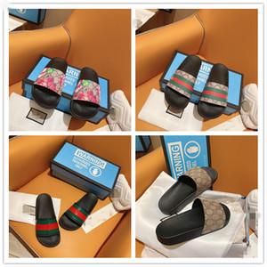 2020 Pantofole di design di lusso del cuoio genuino dei sandali uomo donna coppia Stripes marca morbide casual Estate Chaussures Femme diapositive tory