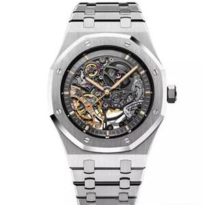 2020 뉴 로얄 오크 더블 밸런스 휠 오픈 백 글라이드 자동 시계 스테인레스 스틸 블랙 15407 시계 41mm 남성 손목 시계 다이얼 부드럽게