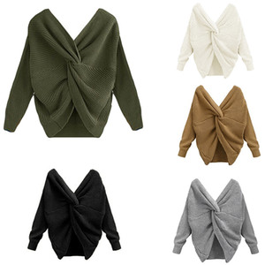 Женщины вязаный свитер повседневная свободные Criss-Cross Pullovers женщин с длинным рукавом свитер Multi Color Ruched Pullover Bigsweety моды свитера