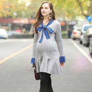 Corbata de mariposa Vestido de punto Vestidos para mujeres embarazadas Flojo Lotus Edge Suéter Cuello redondo Mangas largas 4