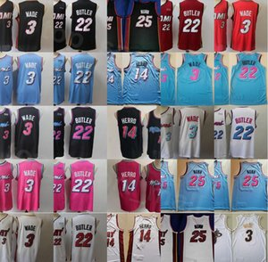 Cheap Basketball Dwyane Wade Jersey 3 Tyler Herro 14 Jimmy Butler 22 Kendrick Nunn 25 Black White Red Pink Color Team Stitched Men