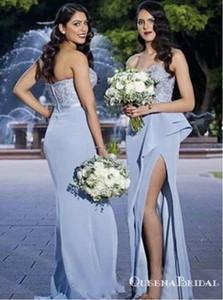 Dusty Blue Satin Brautjungfernkleider mit Spitze Rüschen Split 2020 Liebsten Plus Size Mermaid Junior Hochzeitsgast Party Kleid tragen