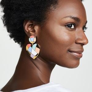 Dvacaman coloré émail coeur boucles d'oreilles pour les femmes 2019 Trendy Summer Girls Party Drop boucles d'oreilles mariage déclaration coréenne