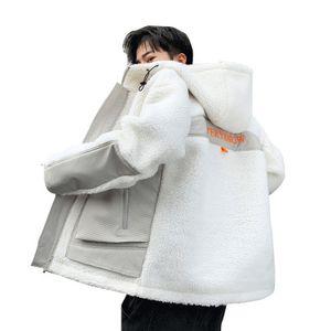 Erkek Kış Sıcak Yeni Kalın Kuzu derisi Ceket Coat Windproof Erkek Casual Gevşek Rahat Erkek Kontrast Renk Kapşonlu Ceket Plus Size 4XL