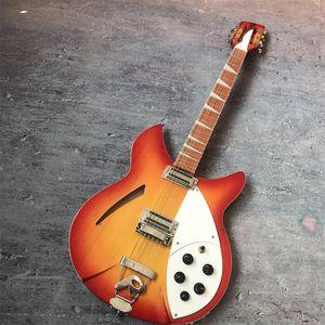 Fábrica de vendas diretas personalizadas de 39 polegadas guitarra de 12 cordas, Rickenback guitarra elétrica 360, com duas saídas, escala de mogno com laca fi