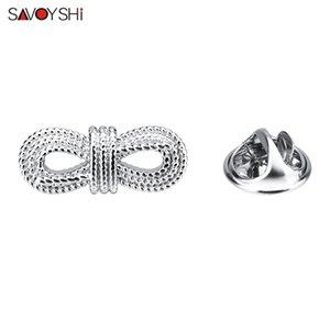 SAVOYSHI Mode Bow-Knoten-Revers-Stifte Badge Hochwertige Silber Broschen Pins für Frauen kleiden Anzug Hüte Weihnachten Pin Zubehör
