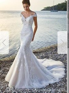 Trumpet sereia Jewel Capela Trem Tulle Dress00106 casamento