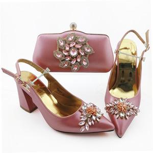 Belle cipolle donne si vestono scarpa corrisponde set borsa con pompe africani stile di cristallo e borsa 18B127, tacco 9CM