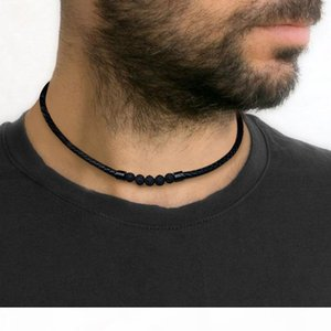 Men's Lava Rock Braided Leather Choker Necklace Men Boho Hippie Jewelry Oil Diffuser Surf Necklaces in Black V191031