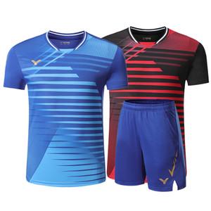 Novas badminton terno calções de manga curta dos homens e das mulheres respirável T-shirt do tênis camisa ténis de mesa T-shirt de secagem rápida