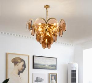 Post-moderne Pedant Lumières de luxe Lustre en verre Ambre Cristal Art Lampe simple personnalité fumée gris verre Salon Lampe suspendue LLFA