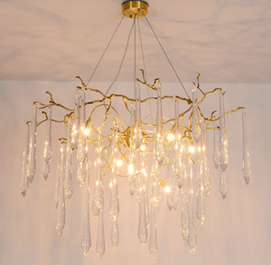 Phube di cristallo di illuminazione di vetro grandi rami Artistiche Lampadari glassa colorata Luce Illuminazione hotel Lampadari di rame Pendant LampsLLFA