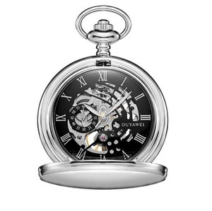 10pcs lot Vintage Silver Mechanical Pocket Watch With Chain Retro Skeleton Men Black Dial Steampunk Mechanical Clock Necklace