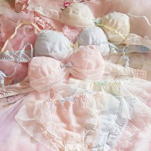 Lolita doce Sexy sutiã e do Panty Define Super fada Kawaii Lingerie japonês Sexy Girls Underwear Bras fio grátis Lace Bralette Set