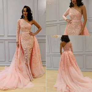 2019 Overskirt Mermaid Formal Evening Dresses One Shoulder Long Sleeve Blush Peach Sweep Train Yousef Aljasmi Lace Floral Prom Dress