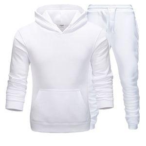 Primavera Outono Sportswear fitness Treino Men Hoodies Preto e Branco Define Calça fato treino Casual Mens Clothing 2PC camisola +