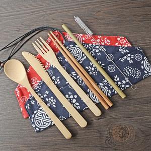 Yemek takımı Seti Bambu Hasır Çatal Seti ile Çanta Ve Fırça Açık Kamp BH2302 CY Taşıma 6 Adet / Seti Bambu Sofra takımı Taşınabilir Kolay