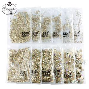Kristaller Nail Art İçin Mücevher Taşları Rhinestone Sigara Düzeltme Altın Düz Arka Ve Tasarım Kristal Ab x 1440 Piece 030