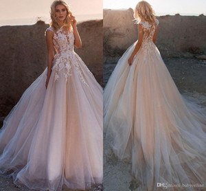 Bohemia Blush Pink barato más el tamaño A encaje vestido de novia apliques línea de vestidos de novia de la manga casquillo Vestidos de novia Vestidos de novia personalizado