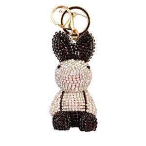 Sevimli Tüm Rhinestone Tavşanlar Doll Anahtarlık kolye Karikatür Anahtarlık Kadın Çanta Cüzdan Noel Benzersiz Hediye Anahtar zincirleri