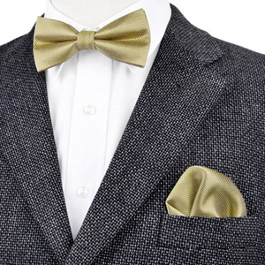 BF15 Envío Gratis Sólido Comprobado Oro Amarillo Para Hombre Pre-atado Tuxedo Bow Tie Hanky 100% Seda Ajustable Al Por Mayor Casual Fiesta de Boda