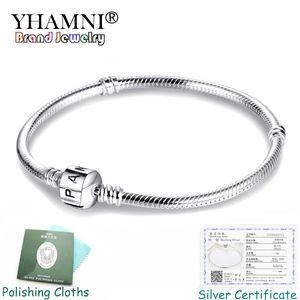 YHAMNI Feines 3mm Charm Kettenarmband für Pandora Charms 925 Silber Original-Armband DIY Schmuck Valentinstag-Geschenk PB005