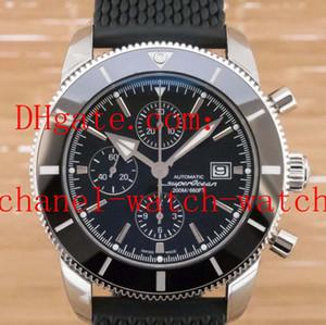 Высочайшее качество Superocean Heritage II A1331212 Черный циферблат и резиновая лента Мужские кварцевые часы Мужские наручные часы