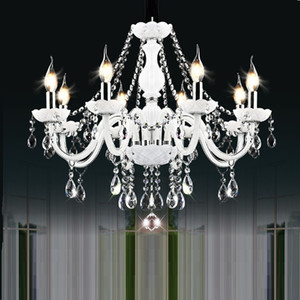 Lampadari di cristallo moderno bianco luci lampadari lampada per camera da letto soggiorno apparecchio di luce di cristallo Lustres de crista illuminazione