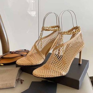 2020 лето последней моде полые сетки стиль моды дизайнер высоких каблуках сандалии роскошь импортирован сетки пластинчатые цепи матовые женские сандалии