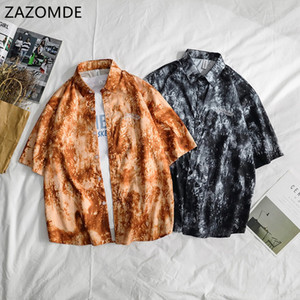 ZAZOMDE Casual Printed Short Sleeve Shirt Men Street 2020 Hawaii Beach Oversize men Fashion Harujuku Button Shirts for