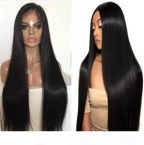 PU encaje completo alrededor de la peluca 9A sedoso brasileño de la Virgen del pelo humano del cordón lleno con fina piel de la peluca de mujer Negro envío