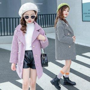 Children's Warm wear girl's 2019 Plaid velvet woolen coat children's warm coat
