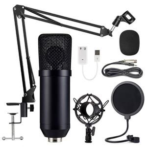 المهنية ميكروفون الصوت ستوديو تسجيل المكثف XLR ميكروفون الكمبيوتر أطقم مع 3.5mm التوصيل الميكروفون تقف BM-700 كيت الأسود ميكروفونات
