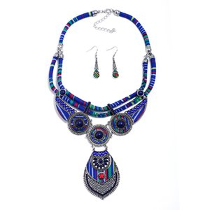 Luxury Jewelry European and American Exaggerated Ethnic Style Necklace Necklace Earrings Two-Piece Jewelry Cross-Border Jewelry Set