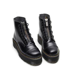 Nova frente designer de zipper botas martin 8 buraco 1.460 plataforma botas sapatos mulheres 5cm inverno tornozelo tamanho 35-41