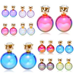 Acrylique double boucles d'oreilles pour les femmes mignonne couleur bonbon boule ronde cristal boule double boucles d'oreilles