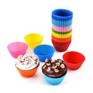 سيليكون الكعك كب كيك قوالب 7 سنتيمتر الملونة كعكة كوب قالب حالة خبز صانع الخبز قوالب كعكة أدوات HHA718