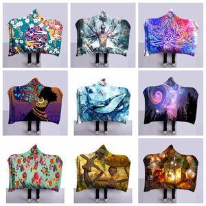 Impresión 3D Invierno Manta con capucha para niños para niños Adultos Decoración cálida Cama suave Tiro para casa Sofá Mantas 130 cm * 150 cm 9 estilos RRA1908