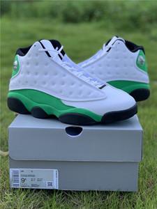 Orijinal Otantik 13 Şanslı Yeşil 13S Siyah Beyaz 3M Yansıtıcı Gerçek Karbon Elyaf Erkek Basketbol Ayakkabı Koşu Açık Sneakers DB6537-113