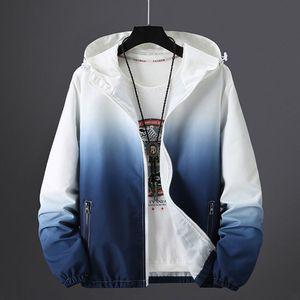 2020 New Men's Spring Summer Hooded Jacket Fashion Gradient Color Windbreaker Waterproof Casual Bomber Jacket Zipper Coat M-5XL