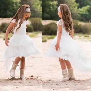 2020 High Low White Princess Flower Girl Dresses кружева Jewel Neck с коротким рукавом маленькие девочки театрализованное платье дети Первое причастие платье AL4920