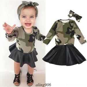 США Малыш Ребенок Baby Girl Cute Camo длинного рукава платья стяжки наряды Детской спортивная одежда Детские открытой Детская одежда Set Sport