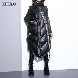 Xitao nero delle donne senza maniche Vest tasca allentata 2019 New Mandarin colletto senza maniche casual maglia femminile solido colore del mantello ZLL2158
