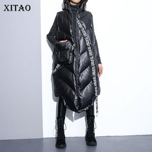 Xitao Mulheres Preto mangas bolso solto Vest 2019 mangas Collar New Mandarin Casual Vest Feminino cor sólida Brasão ZLL2158