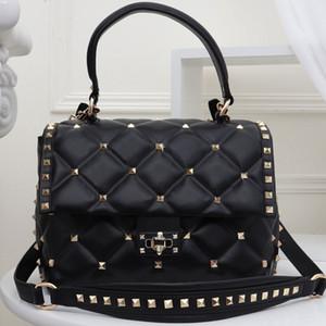 Handbag Crossbody Bag Tote Bag Moda mulher de alta qualidade bolsa de couro Rivet Carta Zipper interno destacável Cadeia frete grátis